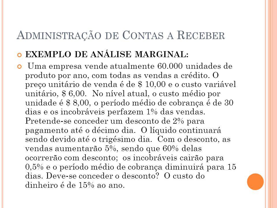 A DMINISTRAÇÃO DE C ONTAS A R ECEBER EXEMPLO DE ANÁLISE MARGINAL: Uma empresa vende atualmente 60.000 unidades de produto por ano, com todas as vendas