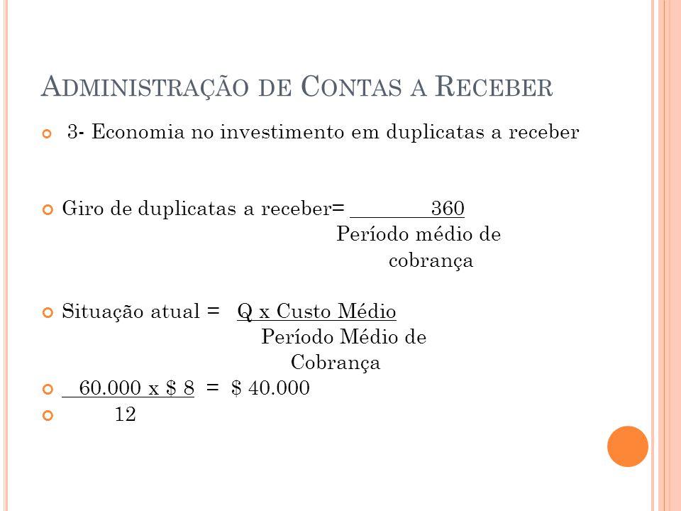 A DMINISTRAÇÃO DE C ONTAS A R ECEBER 3- Economia no investimento em duplicatas a receber Giro de duplicatas a receber= 360 Período médio de cobrança S