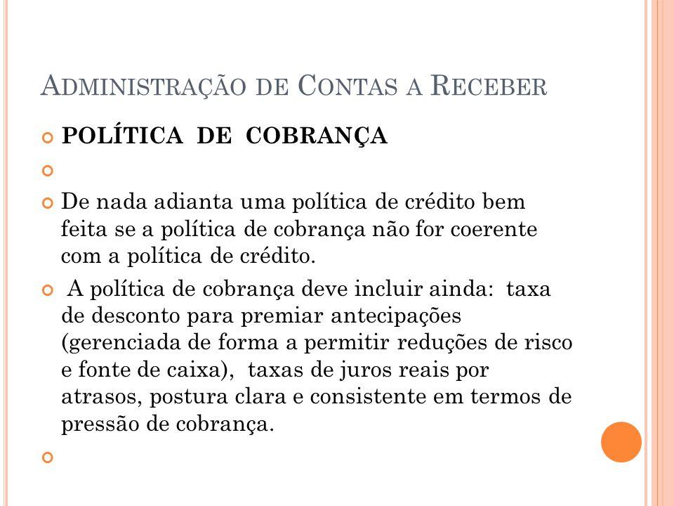 A DMINISTRAÇÃO DE C ONTAS A R ECEBER POLÍTICA DE COBRANÇA De nada adianta uma política de crédito bem feita se a política de cobrança não for coerente