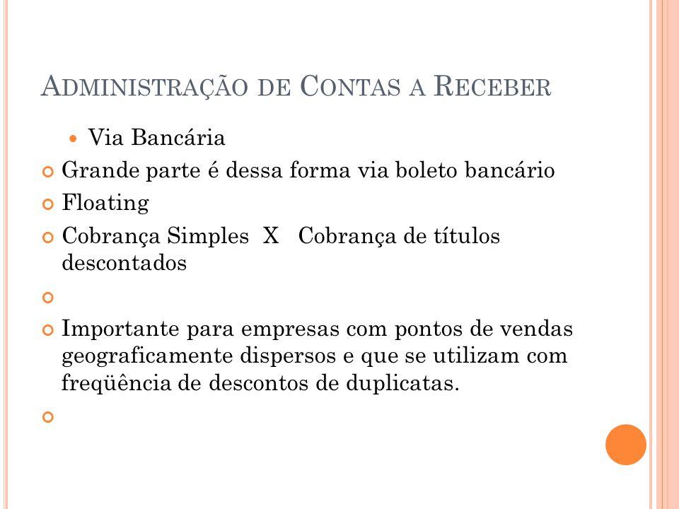 A DMINISTRAÇÃO DE C ONTAS A R ECEBER Via Bancária Grande parte é dessa forma via boleto bancário Floating Cobrança Simples X Cobrança de títulos desco