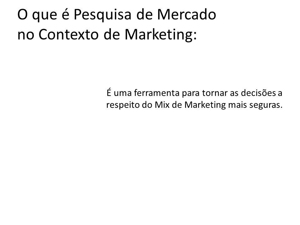 O que é Pesquisa de Mercado no Contexto de Marketing: É uma ferramenta para tornar as decisões a respeito do Mix de Marketing mais seguras.