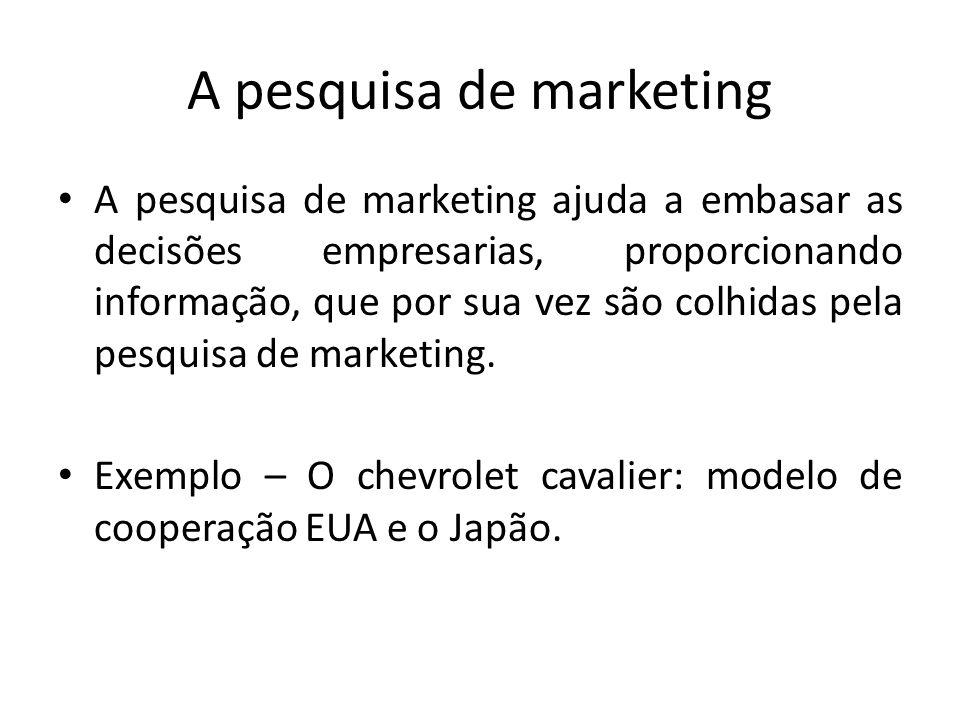 A pesquisa de marketing A pesquisa de marketing ajuda a embasar as decisões empresarias, proporcionando informação, que por sua vez são colhidas pela
