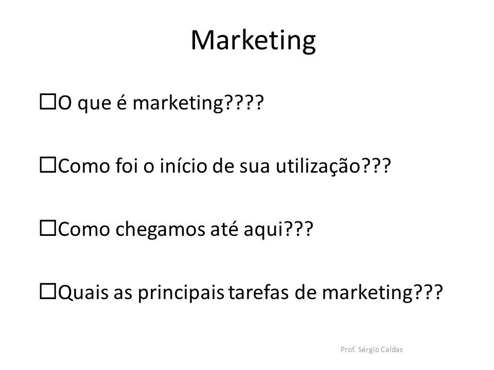 Marketing Prof. Sérgio Caldas O que é marketing???? Como foi o início de sua utilização??? Como chegamos até aqui??? Quais as principais tarefas de ma
