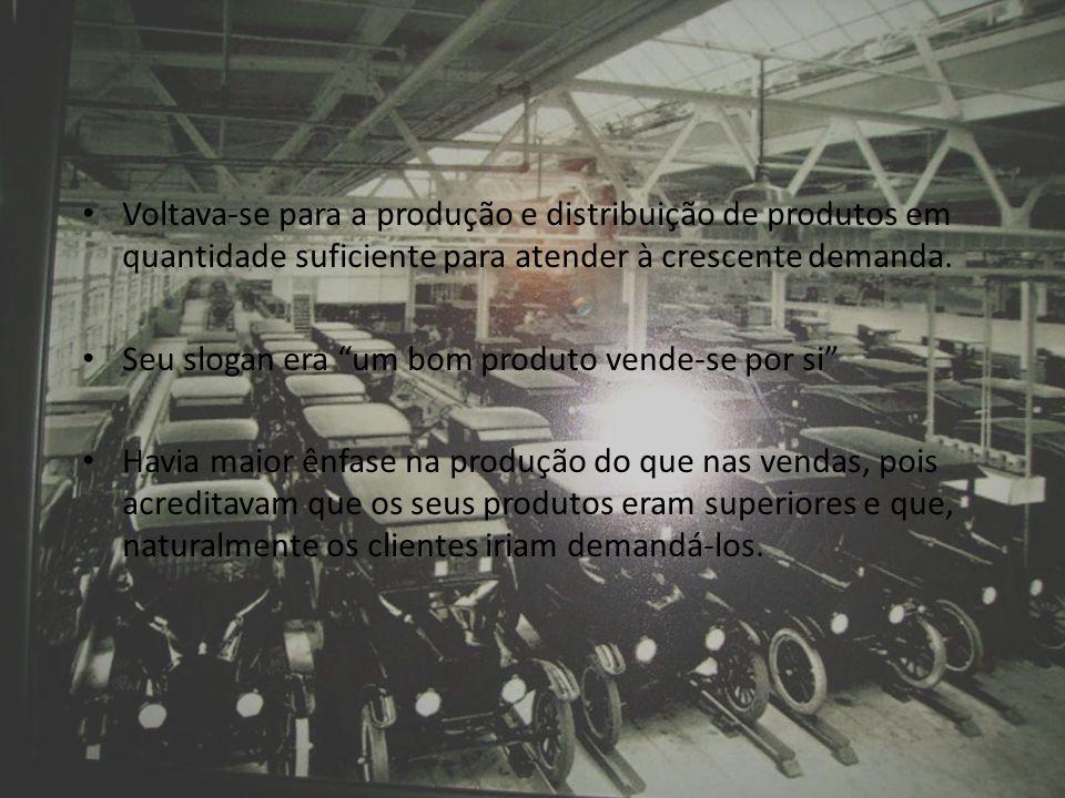 Voltava-se para a produção e distribuição de produtos em quantidade suficiente para atender à crescente demanda. Seu slogan era um bom produto vende-s