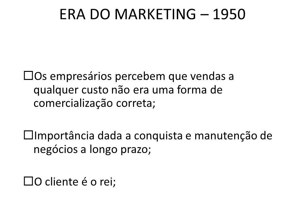 ERA DO MARKETING – 1950 Os empresários percebem que vendas a qualquer custo não era uma forma de comercialização correta; Importância dada a conquista