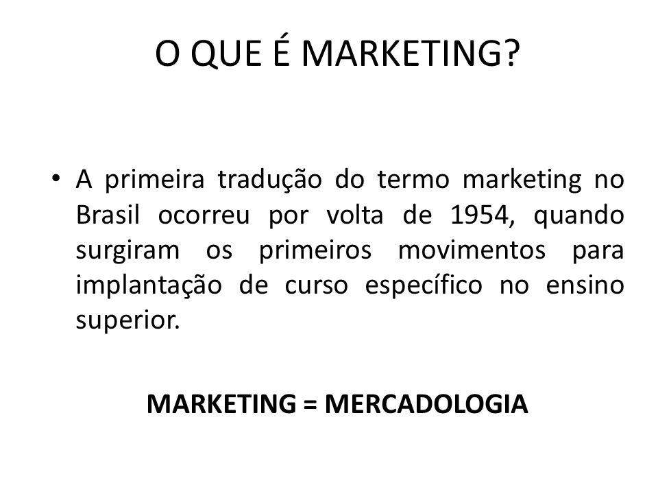 O QUE É MARKETING? A primeira tradução do termo marketing no Brasil ocorreu por volta de 1954, quando surgiram os primeiros movimentos para implantaçã