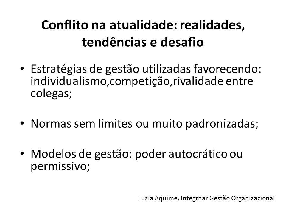 Conflito na atualidade: realidades, tendências e desafio Estratégias de gestão utilizadas favorecendo: individualismo,competição,rivalidade entre cole