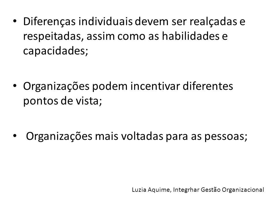 Diferenças individuais devem ser realçadas e respeitadas, assim como as habilidades e capacidades; Organizações podem incentivar diferentes pontos de