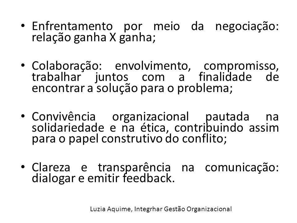 Enfrentamento por meio da negociação: relação ganha X ganha; Colaboração: envolvimento, compromisso, trabalhar juntos com a finalidade de encontrar a