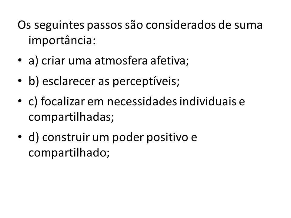 Os seguintes passos são considerados de suma importância: a) criar uma atmosfera afetiva; b) esclarecer as perceptíveis; c) focalizar em necessidades