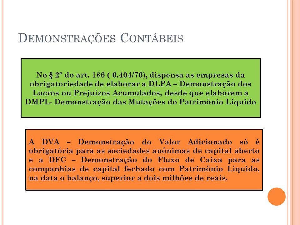 D EMONSTRAÇÕES C ONTÁBEIS No § 2º do art.