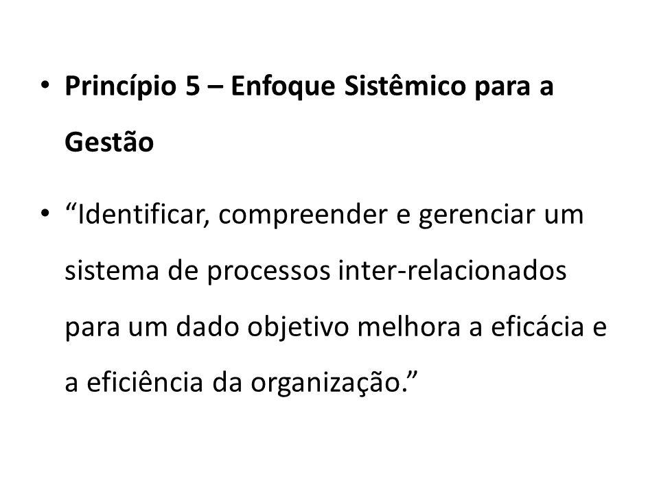 Princípio 5 – Enfoque Sistêmico para a Gestão Identificar, compreender e gerenciar um sistema de processos inter-relacionados para um dado objetivo melhora a eficácia e a eficiência da organização.
