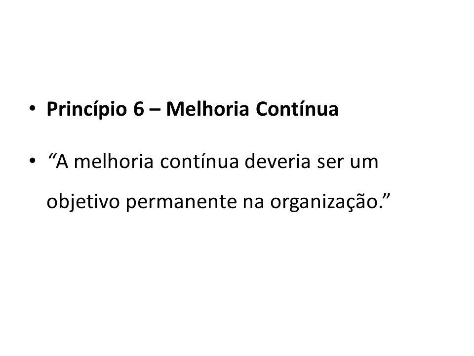 Princípio 6 – Melhoria Contínua A melhoria contínua deveria ser um objetivo permanente na organização.