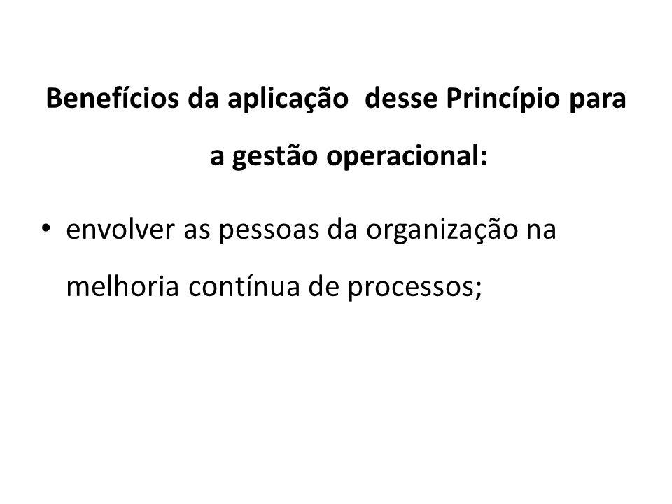 Benefícios da aplicação desse Princípio para a gestão operacional: envolver as pessoas da organização na melhoria contínua de processos;