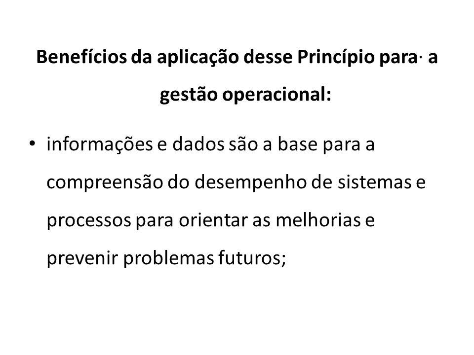 Benefícios da aplicação desse Princípio para· a gestão operacional: informações e dados são a base para a compreensão do desempenho de sistemas e processos para orientar as melhorias e prevenir problemas futuros;