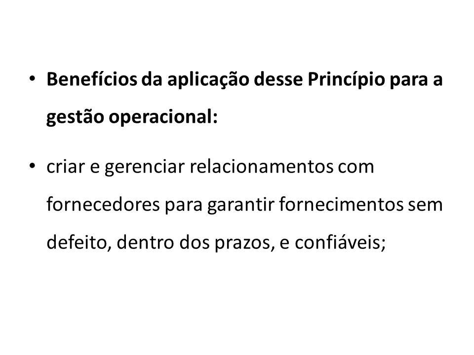 Benefícios da aplicação desse Princípio para a gestão operacional: criar e gerenciar relacionamentos com fornecedores para garantir fornecimentos sem