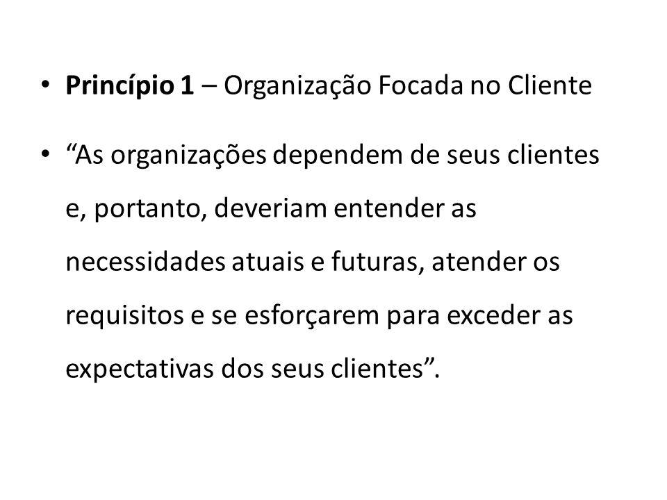 Princípio 1 – Organização Focada no Cliente As organizações dependem de seus clientes e, portanto, deveriam entender as necessidades atuais e futuras, atender os requisitos e se esforçarem para exceder as expectativas dos seus clientes.