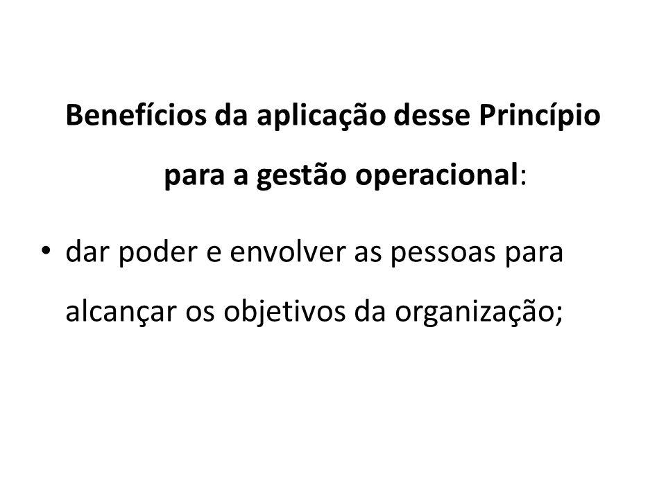 Benefícios da aplicação desse Princípio para a gestão operacional: dar poder e envolver as pessoas para alcançar os objetivos da organização;