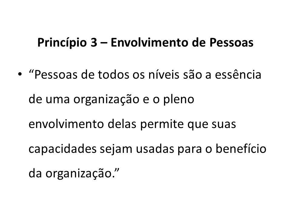 Princípio 3 – Envolvimento de Pessoas Pessoas de todos os níveis são a essência de uma organização e o pleno envolvimento delas permite que suas capac