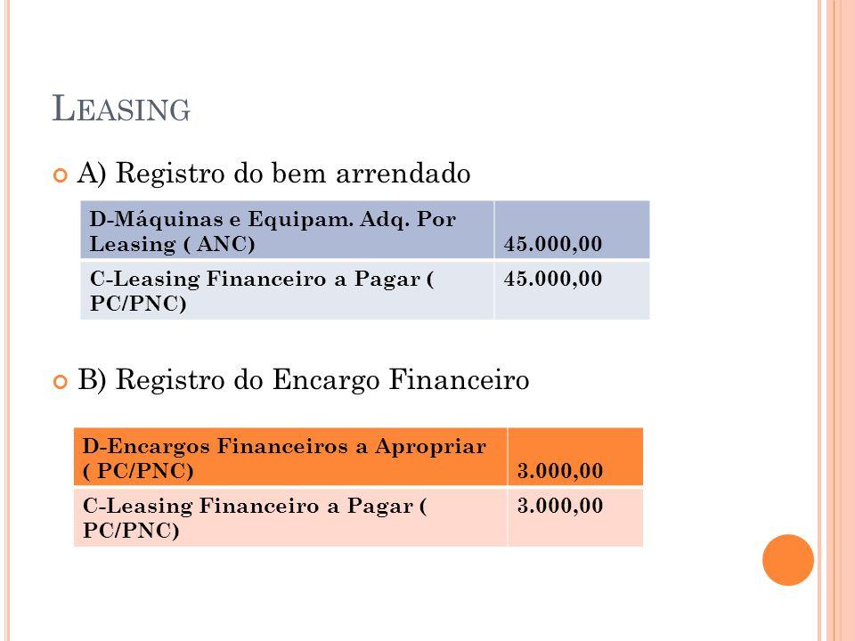 L EASING A) Registro do bem arrendado B) Registro do Encargo Financeiro D-Máquinas e Equipam. Adq. Por Leasing ( ANC)45.000,00 C-Leasing Financeiro a