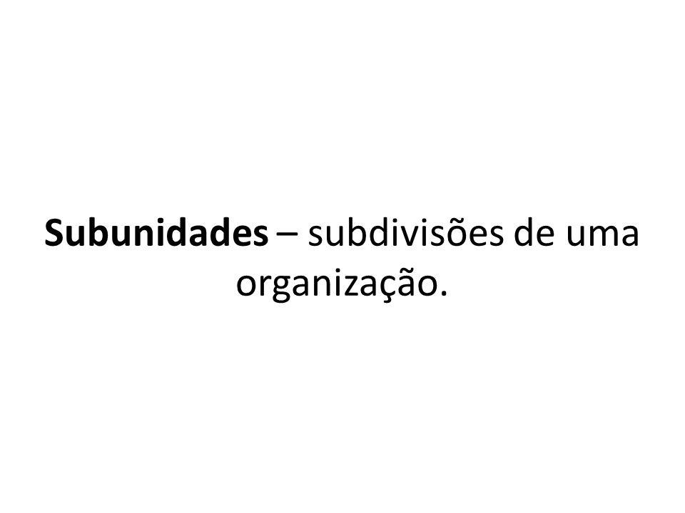 Subunidades – subdivisões de uma organização.