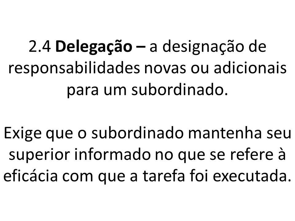 2.4 Delegação – a designação de responsabilidades novas ou adicionais para um subordinado.