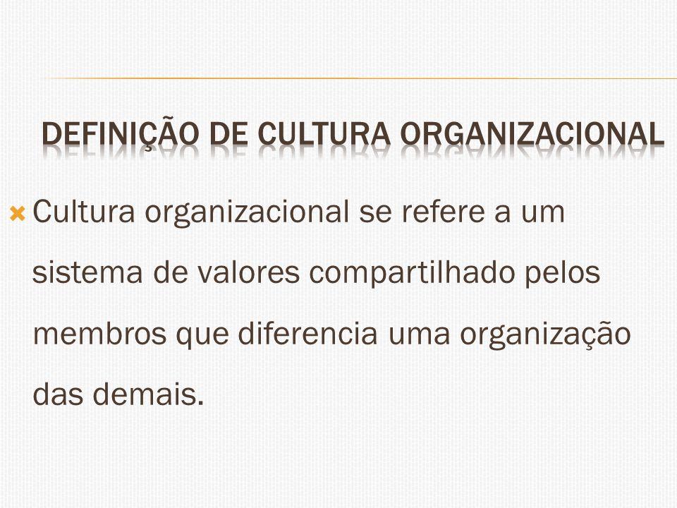 Cultura organizacional se refere a um sistema de valores compartilhado pelos membros que diferencia uma organização das demais.