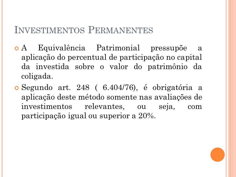 I NVESTIMENTOS P ERMANENTES A Equivalência Patrimonial pressupõe a aplicação do percentual de participação no capital da investida sobre o valor do patrimônio da coligada.