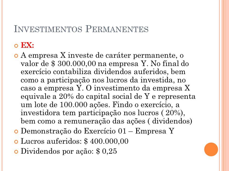 I NVESTIMENTOS P ERMANENTES EX: A empresa X investe de caráter permanente, o valor de $ 300.000,00 na empresa Y.