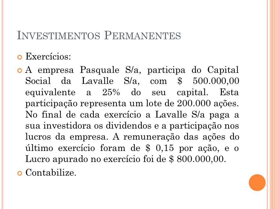 I NVESTIMENTOS P ERMANENTES Exercícios: A empresa Pasquale S/a, participa do Capital Social da Lavalle S/a, com $ 500.000,00 equivalente a 25% do seu capital.