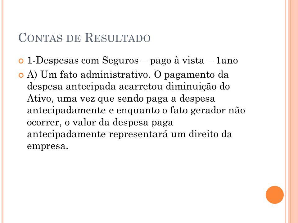 C ONTAS DE R ESULTADO 1-Despesas com Seguros – pago à vista – 1ano A) Um fato administrativo. O pagamento da despesa antecipada acarretou diminuição d
