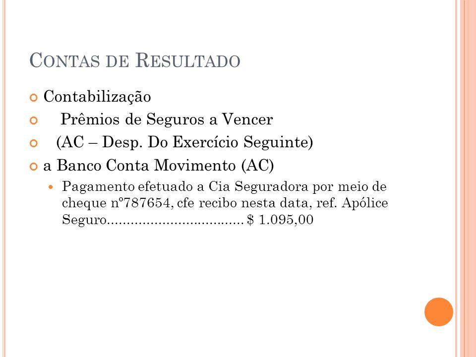 C ONTAS DE R ESULTADO Contabilização Prêmios de Seguros a Vencer (AC – Desp. Do Exercício Seguinte) a Banco Conta Movimento (AC) Pagamento efetuado a