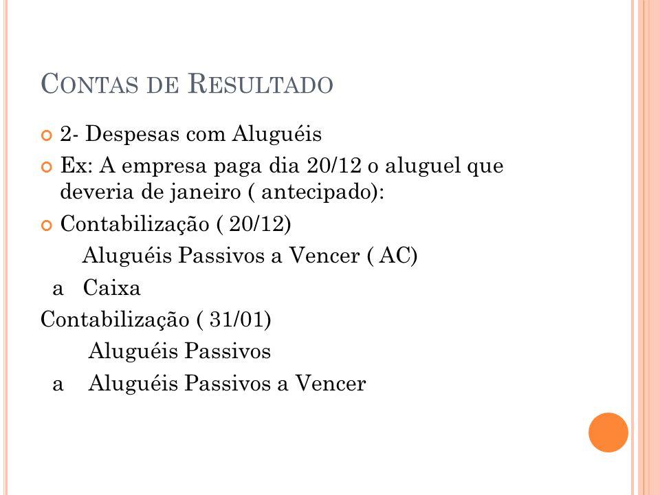 C ONTAS DE R ESULTADO 2- Despesas com Aluguéis Ex: A empresa paga dia 20/12 o aluguel que deveria de janeiro ( antecipado): Contabilização ( 20/12) Al