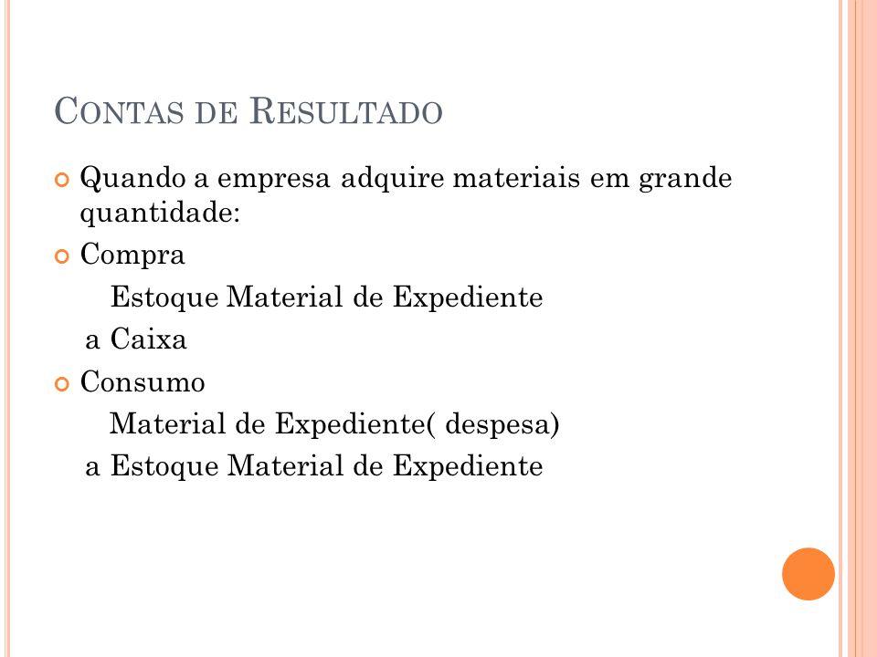 C ONTAS DE R ESULTADO RECEITAS 1) Receitas realizadas e não recebidas Apropriação Aluguéis a Receber ( AC) a Aluguéis Ativos ( receitas)