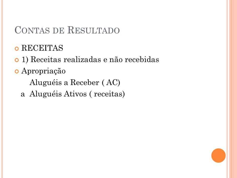 C ONTAS DE R ESULTADO 2) Receitas recebidas antecipadamente ( recebidas e não ganhas) Ex: O aluguel que venceria em janeiro/x2, foi recebido pela nossa empresa em 20/12 x1.