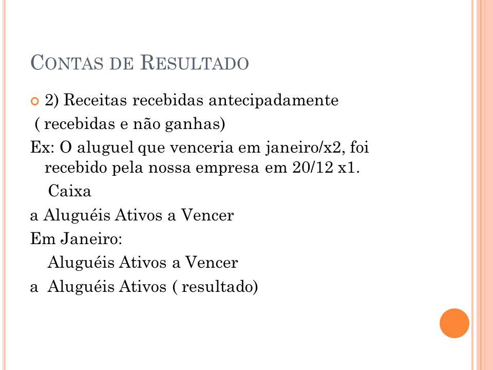 C ONTAS DE R ESULTADO 2) Receitas recebidas antecipadamente ( recebidas e não ganhas) Ex: O aluguel que venceria em janeiro/x2, foi recebido pela noss