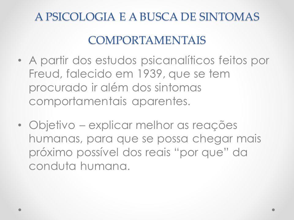 A PSICOLOGIA E A BUSCA DE SINTOMAS COMPORTAMENTAIS A partir dos estudos psicanalíticos feitos por Freud, falecido em 1939, que se tem procurado ir alé