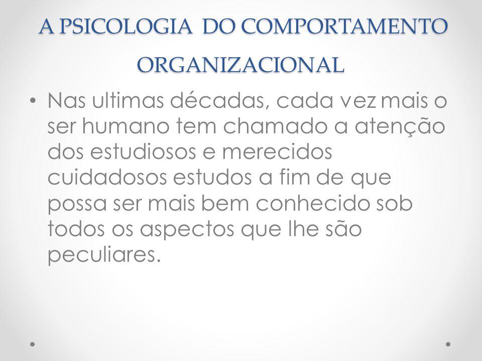 A PSICOLOGIA DO COMPORTAMENTO ORGANIZACIONAL A PSICOLOGIA DO COMPORTAMENTO ORGANIZACIONAL Nas ultimas décadas, cada vez mais o ser humano tem chamado