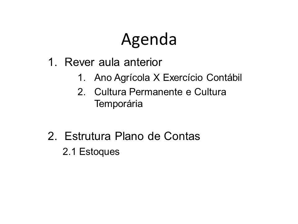 Agenda 1.Rever aula anterior 1.Ano Agrícola X Exercício Contábil 2.Cultura Permanente e Cultura Temporária 2.Estrutura Plano de Contas 2.1 Estoques