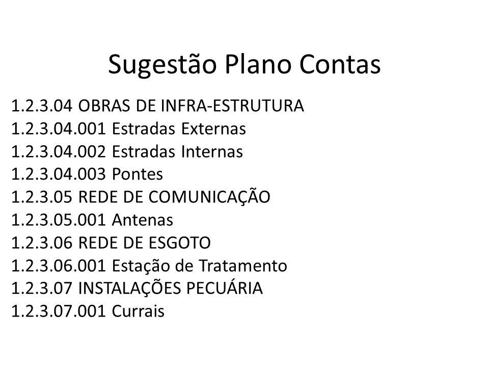 Sugestão Plano Contas 1.2.3.04 OBRAS DE INFRA-ESTRUTURA 1.2.3.04.001 Estradas Externas 1.2.3.04.002 Estradas Internas 1.2.3.04.003 Pontes 1.2.3.05 RED