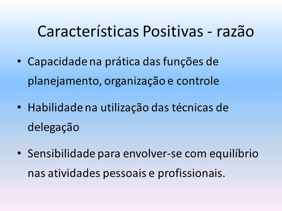 Capacidade na prática das funções de planejamento, organização e controle Habilidade na utilização das técnicas de delegação Sensibilidade para envolv