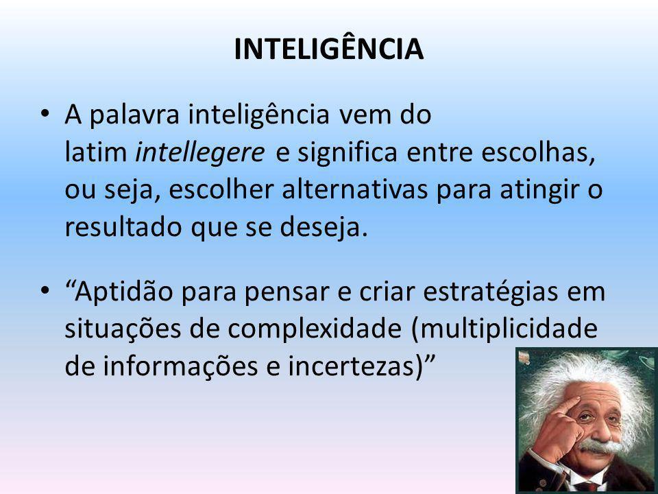 INTELIGÊNCIA A palavra inteligência vem do latim intellegere e significa entre escolhas, ou seja, escolher alternativas para atingir o resultado que s