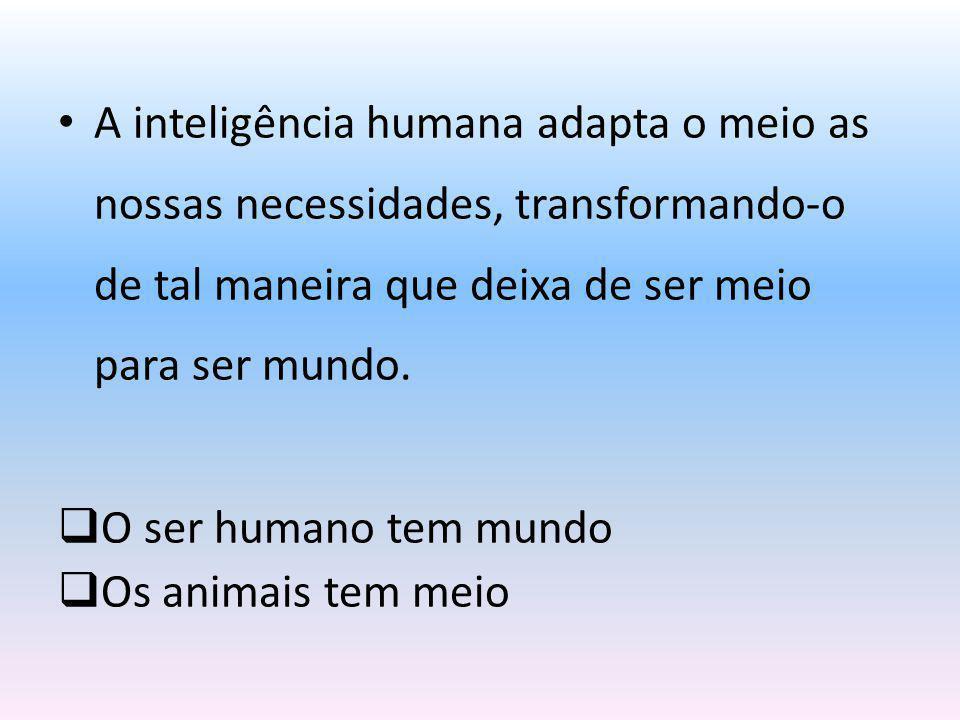A inteligência humana adapta o meio as nossas necessidades, transformando-o de tal maneira que deixa de ser meio para ser mundo. O ser humano tem mund