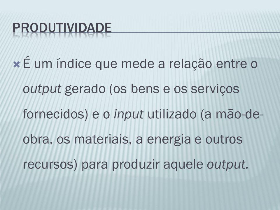 É um índice que mede a relação entre o output gerado (os bens e os serviços fornecidos) e o input utilizado (a mão-de- obra, os materiais, a energia e