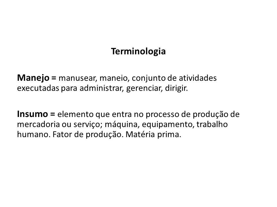 Terminologia Manejo = manusear, maneio, conjunto de atividades executadas para administrar, gerenciar, dirigir. Insumo = elemento que entra no process