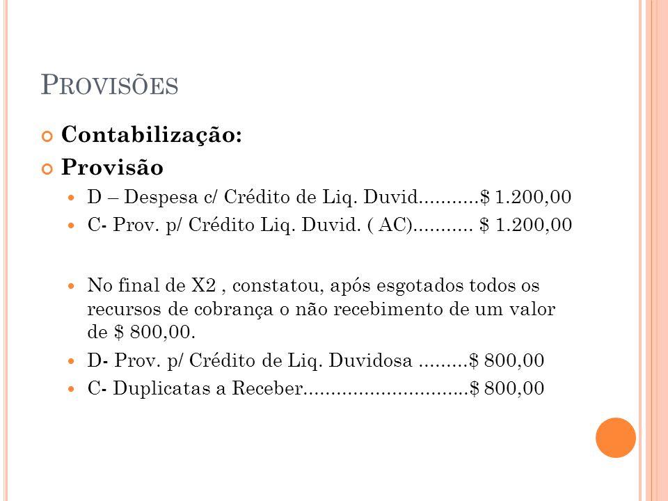 P ROVISÕES Contabilização: Provisão D – Despesa c/ Crédito de Liq. Duvid...........$ 1.200,00 C- Prov. p/ Crédito Liq. Duvid. ( AC)........... $ 1.200