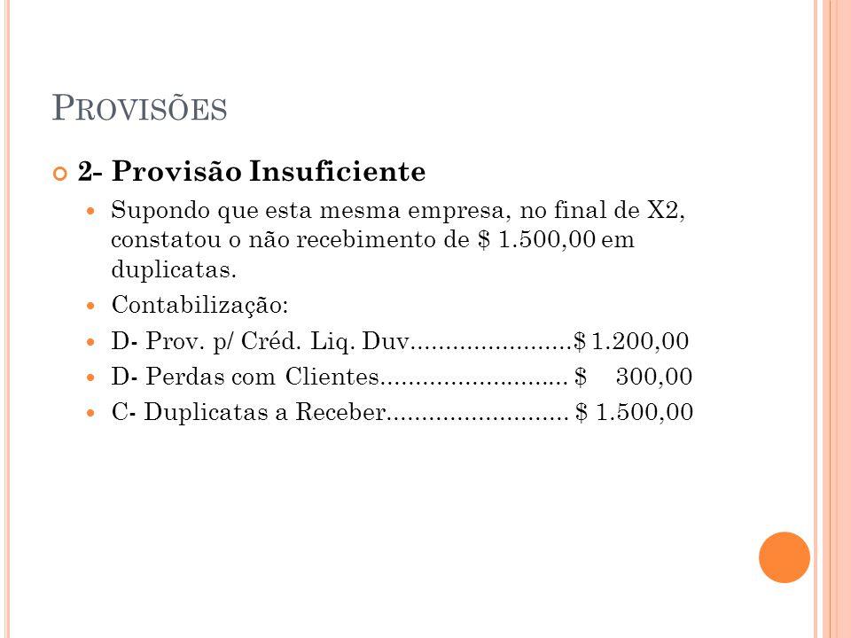 P ROVISÕES 2- Provisão Insuficiente Supondo que esta mesma empresa, no final de X2, constatou o não recebimento de $ 1.500,00 em duplicatas. Contabili