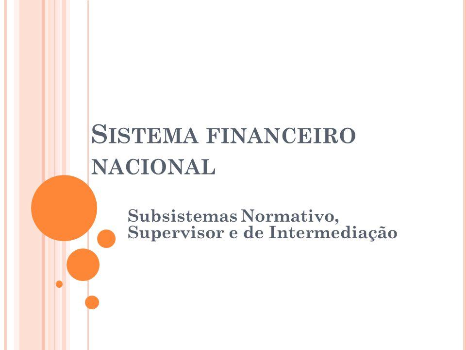 S ISTEMA FINANCEIRO NACIONAL Subsistemas Normativo, Supervisor e de Intermediação