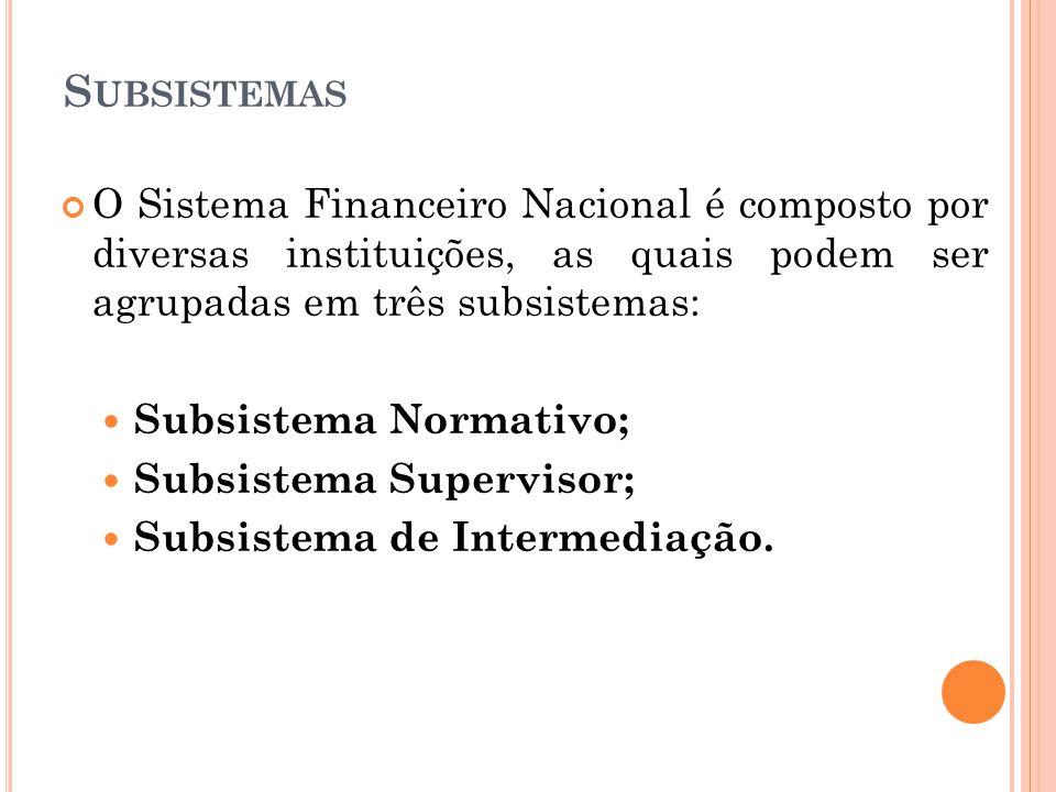 S UBSISTEMAS O Sistema Financeiro Nacional é composto por diversas instituições, as quais podem ser agrupadas em três subsistemas: Subsistema Normativ