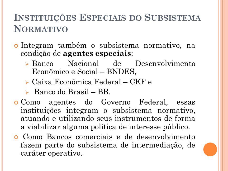 I NSTITUIÇÕES E SPECIAIS DO S UBSISTEMA N ORMATIVO Integram também o subsistema normativo, na condição de agentes especiais : Banco Nacional de Desenv